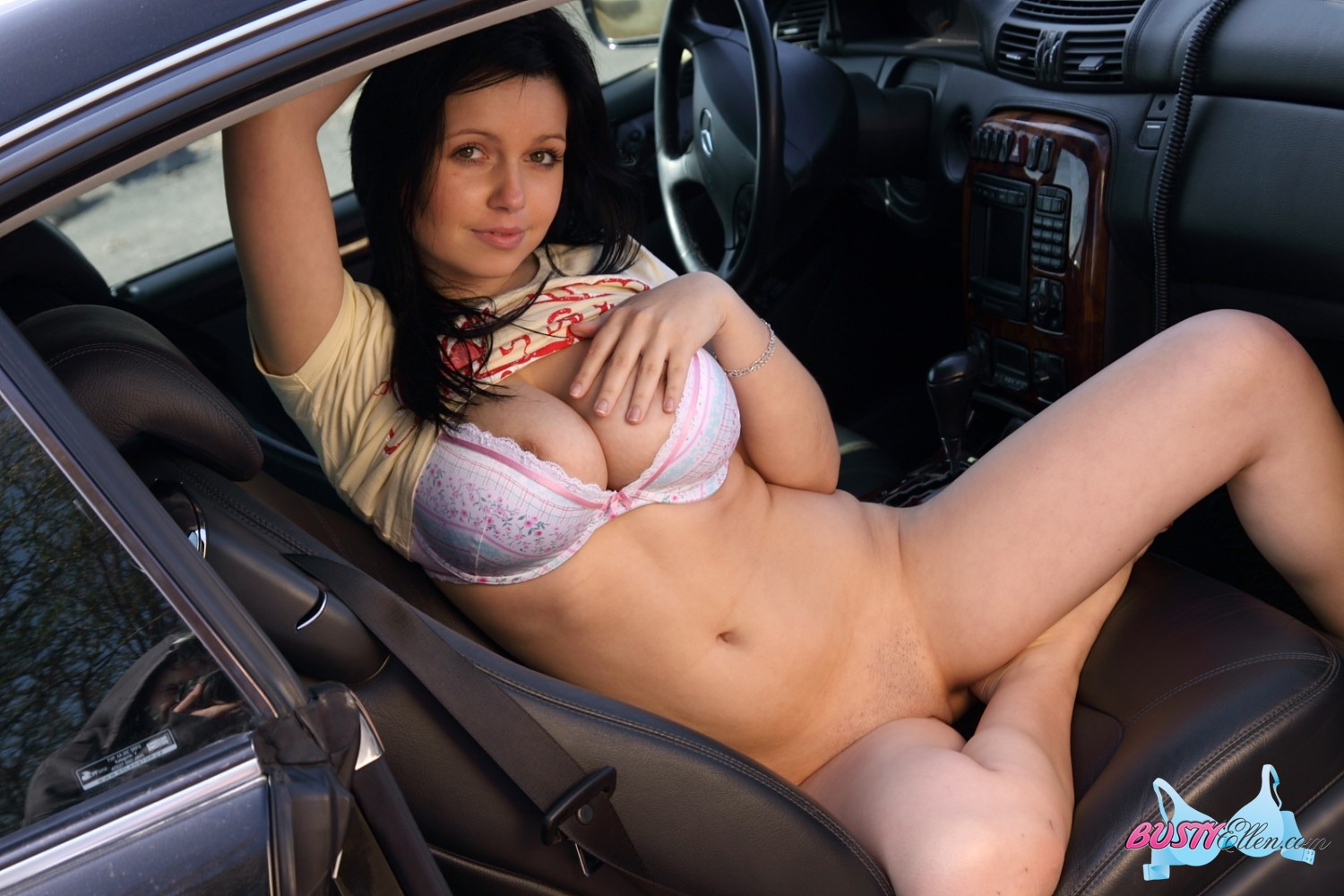 Busty girl stirps in car agree, very