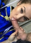 Eva Lovia cosplay as chun li as she gets her mouth around a big cock