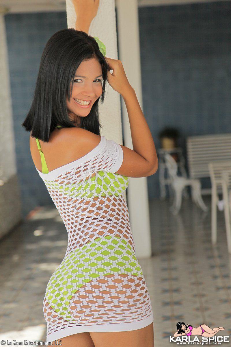 Karla Spice takes off mesh dress @ GirlzNation.com: www.girlznation.com/galleries/karla_spice_takes_off_mesh_dress