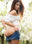 Little Caprice Nude in the wood as she slides a but plug up her ass and she loves every second