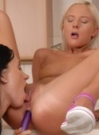 Teen Models petite blonde and brunette eat each other out and put some big toys in their butts.