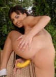 Teen Models great ass on this brunette toys her pussy with a banana.