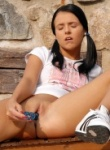 Teen Models blue toy outside