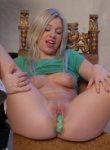 Teen Models sexy blonde spreads her ass and toys it good.