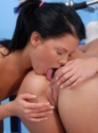 Teen Models two hot brunettes finger and eat each other out in the gym.