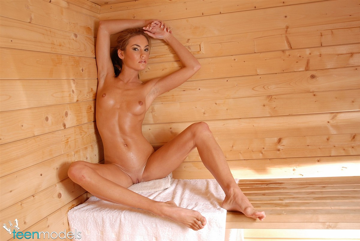 Teen Models Viki in the sauna @ GirlzNation.com