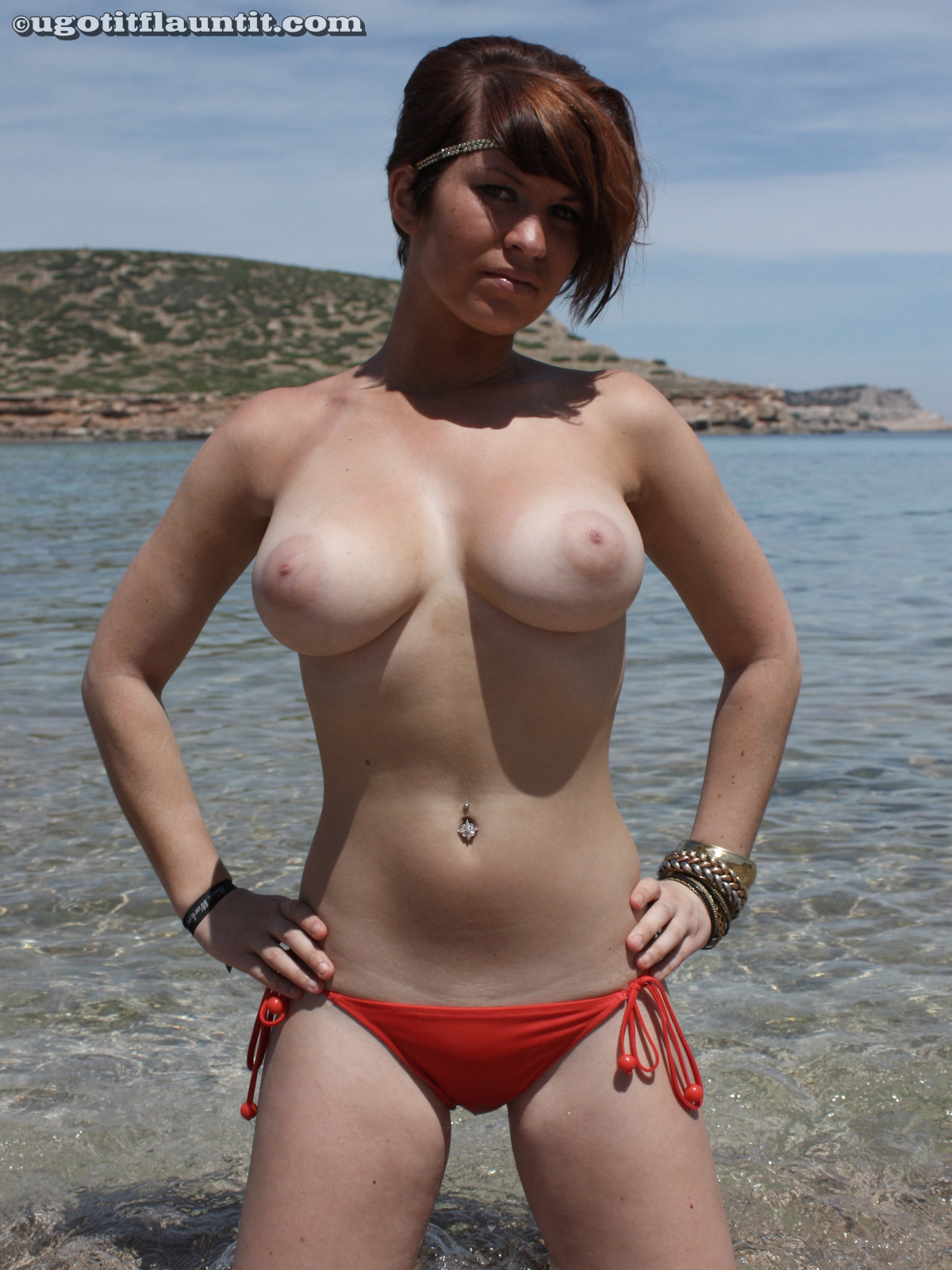 Charming topic Busty asian red bikini beach